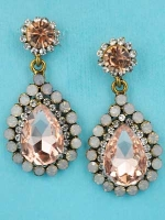 "Light Peach/Opal Antiquegold Top Round Stone Bottom Pear Stone 1.5"" Dangling Earring"