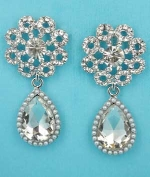 "Pearl/Clear Silver Top Flower Bottom Dangle Pear Stone 2"" Post Earring"