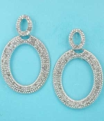 """Clear Silver Two Oval Shape Small Round Stone 2.3"""" Post Earring"""