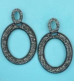 "Black Diamond/Black Two Oval Shape Small Round Stone 2.3"" Post Earring"