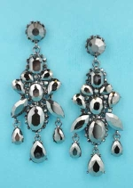 "Black Diamond/Hematite Multiple Stone Framed 3"" Post Earring"