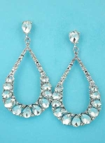 "Clear Silver Pearshape Oval Stone 2"" Post Earring"