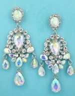 "Aurora Borealis/Clear Silver Framed Multiple Size Pear Stone 2.5"" Post Earring"