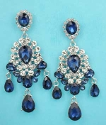 "Montana Navy/Clear Silver Framed Multiple Size Pear Stone 2.5"" Post Earring"