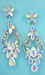 "Aurora Borealis/Clear Silver Flower/Multiple Stone 3"" Post Earring"