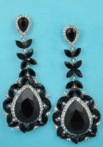 "Jet/Clear Big Pear/Framed 3"" Post Earring"