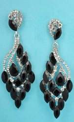 """Jet/Clear Silver Multiple Marquise Stone 3"""" Post Earring"""