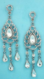 """Clear Hematite Dangling Center Pear Stone 2.5"""" Post Earring"""