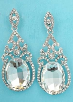 """Clear Silver Big Oval Stone Top Framed 2"""" Post Earring"""
