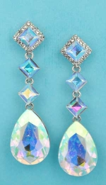 """Aurora Borealis/Clear Silver Multiple Linked Dangling Stone 3"""" Post Earring"""