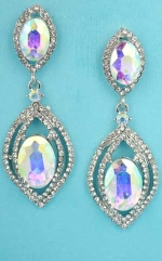 Aurora Borealis/Clear Silver Multiple Marquise Layers 2.3' Post Earring