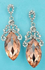"""Light Peach/Clear Silver Big Marquise Stone 2.2"""" Post Framed Earring"""