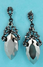 "Black Diamond/Hematite Big Marquise Stone 2.2"" Framed Earring"