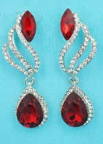 "Siam Dark/Clear Silver Top Flame Shape Dangling Pear Stone 2"" Post Earring"