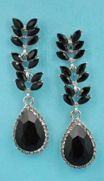 "Jet/Clear Branch Leaves Dangling Pear Stone 2"" Post Earring"