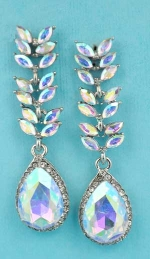 "Aurora Borealis/Clear Silver Branch Leaves Dangling Pear Stone 2"" Post Earring"
