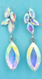 "Aurora Borealis/Silver Leaf Shape Dangling Marquise Stone 2"" Post Earring"
