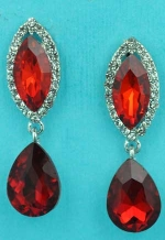 "Siam Dark/Clear Silver Top Marquise Bottom Pear Dangling 1.5"" Post Earring"