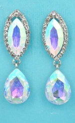 "Aurora Borealis/Clear Silver Top Marquise Bottom Pear Dangling 1.5"" Post Earring"