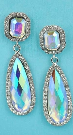 "Aurora Borealis/Clear Silver Top Square Bottom Long Pear Shape 2"" Post Earring"