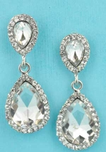 "Clear/Silver Two Pear Shape Dangling 2"" Post Earring"