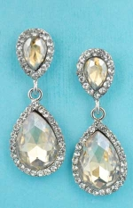 "Light Colorado/Clear Silver Two Pear Shape Dangle 2"" Post Earring"
