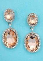 "Light Peach/Clear Silver Two Linked Oval Stone 1.5"" Post Earring"