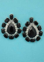 """Jet/Clear Silver Center Pear Stone Framed Oval Stone 1"""" Post Earring"""