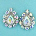 "Aurora Borealis/Clear Silver Center Pear Stone Framed Oval Stone 1"" Post Earring"