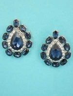 """Montana Navy/Clear Silver Center Pear Stone Framed Oval Stone 1"""" Post Earring"""