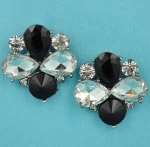 "Jet/Clear Hematite Bee Shape 1"" Post Earring"
