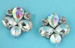 "Aurora Borealis/Clear Hematite Bee Shape 1"" Post Earring"