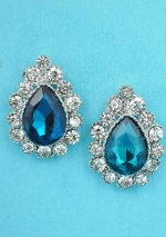 "Blue Zirconia/Clear Silver Single Pear Stone Framed Round Stone 1"" Post Earring"
