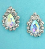 "Aurora Borealis/Clear Silver Single Pear Stone Framed Round Stone 1"" Post Earring"