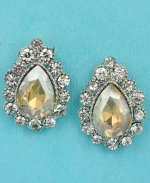 "Light Colorado/Clear Silver Single Pear Stone Framed Round Stone 1"" Post Earring"
