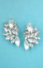 "Clear Silver Half Earring Leaves Shape 1.5"" Post"