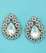 "Opal/Clear Hematite Pear Shape/Stone Framed Round Stone 1"" Post Earring"