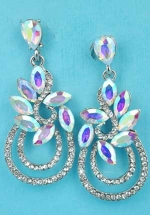 """Aurora Borealis/Clear Silver Marquise Stone Oval Shape 2"""" Post Earring"""