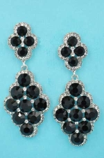 "Jet/Clear Silver Big/Small Round Stone Dangling 2"" Earring"