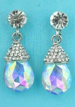 """Aurora Borealis/Clear Top Dangling Round Stone 1.2"""" Post Earring"""