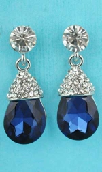 "Montana Navy/Clear Silver Top Dangling Round Stone 1,2"" Earring"