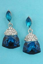 "Blue Zirconia/Clear Silver Marquise Linked Trillion Stone 1.5"" post Earring"