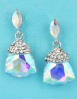 "Aurora Borealis/Clear Silver Marquise Linked Trillion Stone 1.5"" Post Earring"
