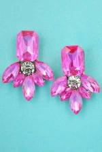 "Fuschia/Clear Gold Emerald/Marquise Stone 1.5"" Post Earring"