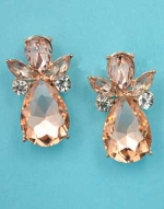 "Light Peach/Clear Rose Gold Angel Shape 1.5"" Post Earring"