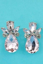 "Rose/Clear Silver Angel Shape 1.5"" Post Earring"