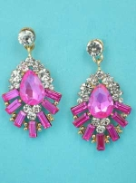 "Fuchsia/Clear Gold Framed Shape Multiple Stone 1.5"" Post Earring"