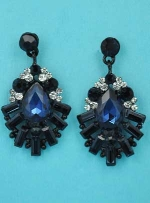 "Montana Navy/Clear Black Framed Shape Multiple Stone 1.5"" Post Earring"