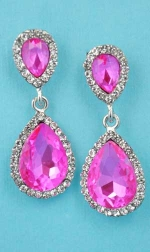 "Fuchsia/Clear Silver Two Pear Stone 1.5"" Post Earring"