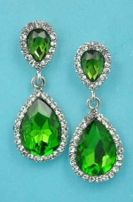 "Olivine/Clear Silver Two Pear Stone 1.5"" Post Earring"